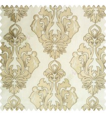 Light brown beige gold color traditional design embroidery finished with cotton base fabric swirls floral leaves main curtain
