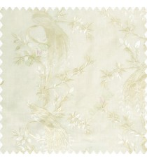 Beige cream color beautiful long tree with small flowers resting peacock cotton finished base fabric main curtain