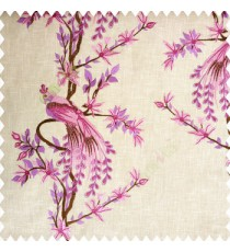Bright pink and purple beige brown color beautiful long tree with small flowers resting peacock cotton finished base fabric main curtain