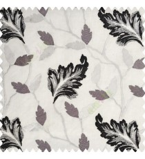 Black white cream color traditional designs embroidery floral leaves beautiful trees with cotton base fabric weaving pattern main curtain