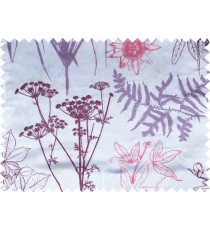Red purple beige color digital flowers and hanging leaves pattern poly main curtains design
