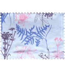 Pink blue beige purple color digital flowers and hanging leaves pattern poly main curtains design