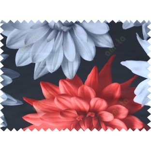 Black white red grey color beautiful digital dahlia flower print with thick fab poly main curtains design