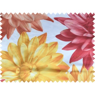 Yellow red white color beautiful digital dahlia flower print with thick fab poly main curtains design