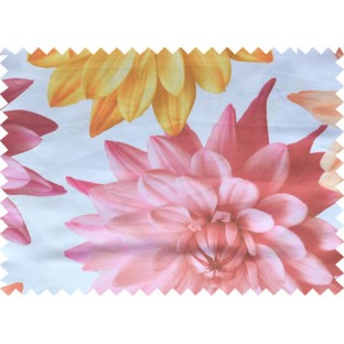 Yellow pink white color beautiful digital dahlia flower print with thick fab poly main curtains design