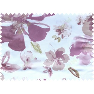 Purple white green brown colour natural floral pattern with digital print poly main curtains design