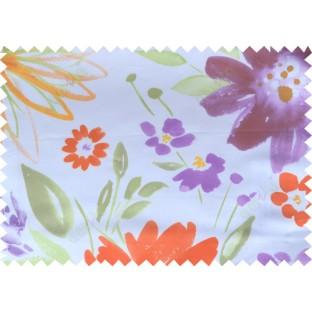 Orange white green purple yellow color digital sunflower pattern poly main curtains design