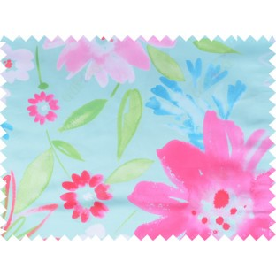 Pink blue green color digital sunflower pattern poly main curtains design