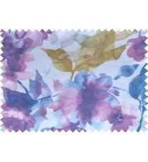 Blue green white  digital spring seasons flower pattern poly main curtains design