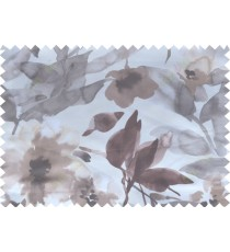 Brown white grey pink digital spring seasons flower pattern poly main curtains design