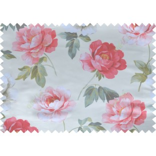 Red green white grey color digital rose flower print poly main curtains design