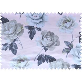 Black grey pink white color digital rose flower print poly main curtains design