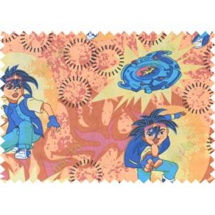 Yellow blue orange black color digital bayblade print poly main curtains design