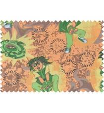 Green orange black brown color digital bayblade print poly main curtains design