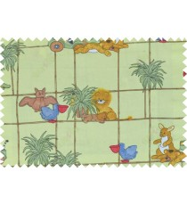 Green yellow brown red blue color digital pets and plants print for kids poly main curtains design