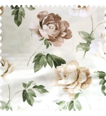 Green brown cream color beautiful rose with big leaves and stems floral petals on polyester base thick fabric elegant look main curtain