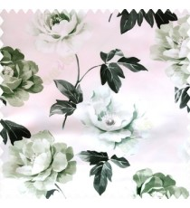Black green pink color beautiful rose with big leaves and stems floral petals on polyester base thick fabric elegant look main curtain