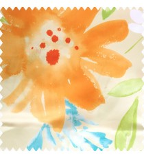 Green orange blue white color beautiful big size flowers large leaves colorful designs watercolor prints polyester base fabric main curtain