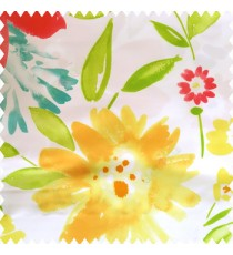 Gold yellow orange green blue white color beautiful big size flowers large leaves colorful designs watercolor prints polyester base fabric main curtain