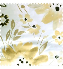 Black gold white brown color beautiful big size flowers large leaves colorful designs watercolor prints polyester base fabric main curtain