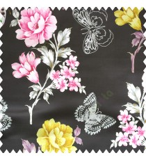 Black pink grey gold color beautiful floral designs rose with leaves butterfly floral petals polyester base fabric main curtain