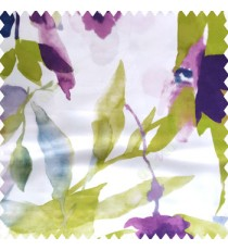 Green purple white blue color beautiful flowers rose big leaves branches watercolor print polyester base fabric main curtain
