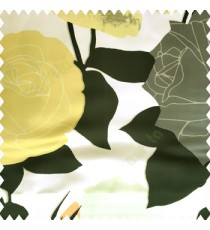 Black green white orange yellow color beautiful big rose leaves branches flower petals polyester base fabric main curtain
