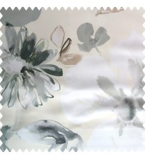 Grey white brown color beautiful big flower flying leaves petals polyester base fabric main curtain