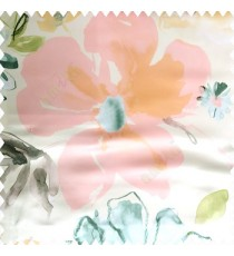 Green pink blue white orange color beautiful big flower flying leaves petals polyester base fabric main curtain
