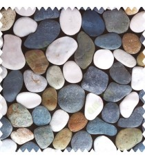 Grey white blue brown orange color natural stones texture finished beautiful finished polyester fabric main curtain