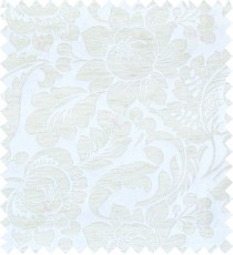 Beige white colour floral self design poly main curtain designs
