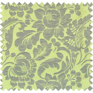 Green brown colour floral self design poly main curtain designs
