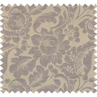 Brown colour floral self design poly main curtain designs