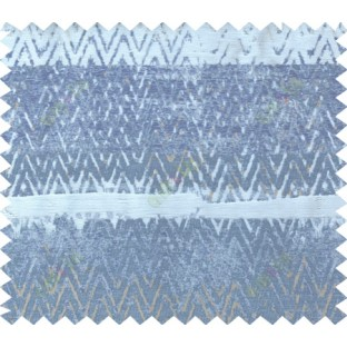Blue grey brown colour zigzag pattern with horizontal block stripes poly main curtain designs