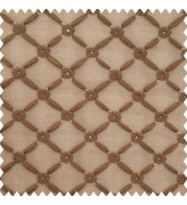 Brown color small flowers embroidery designs embossed bamboo pattern with transparent net base fabric polyester sheer curtain