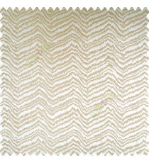 Beige gold color horizontal zigzag texture flowing lines weaving thin patterns polyester base thick fabric main curtain