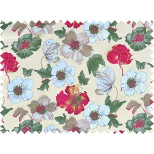 Beige red green brown white colour natural floral design pure cotton main curtain designs