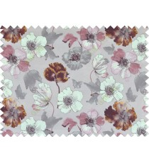 Brown beige pink purple grey colour natural floral design pure cotton main curtain designs