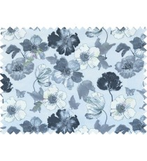 Black white grey colour natural floral design pure cotton main curtain designs