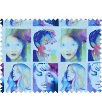 Blue yellow purple pink black colour multi lady face pure cotton main curtain designs