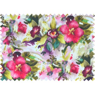 Pink white green yellow colour beautiful painting finish floral pure cotton main curtain designs