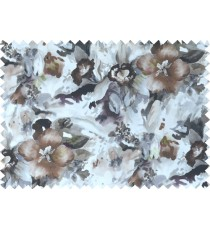 Black white grey brown colour beautiful painting finish floral pure cotton main curtain designs