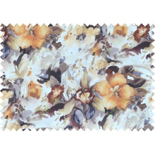 Orange black white brown grey colour beautiful painting finish floral pure cotton main curtain designs