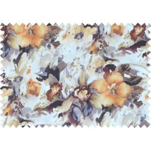 Orange black white brown grey colour beautiful painting finish floral pure cotton main curtain designs