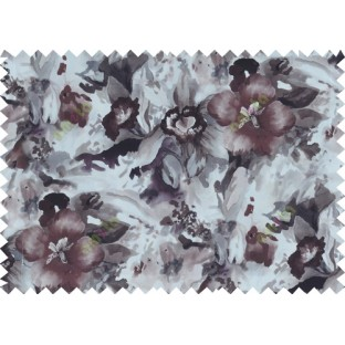 Black grey white purple brown colour beautiful painting finish floral pure cotton main curtain designs
