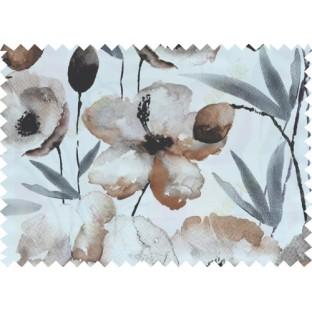 Black white brown grey natural floral design pure cotton main curtain designs