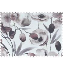 Black white grey brown natural floral design pure cotton main curtain designs