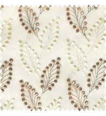 Copper brown cream white color beautiful flower embossed patterns embroidery leaves cotton buds small circles designs with polyester net base fabric sheer curtain