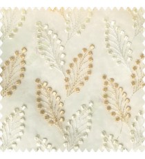 Beige cream white color beautiful flower embossed patterns embroidery leaves cotton buds small circles designs with polyester net base fabric sheer curtain