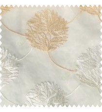 Beige cream white color big texture floral leaves interconnected with embroidery chain small leaf bunch polyester net base fabric sheer curtain